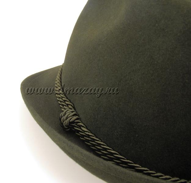 Фетровая шляпа австрийская WERRA HUNTING 0918 ROBBY (тирольская, егерьская) для охоты из кроличьего пуха (фетра, войлока) темно-оливкового цвета, Чехия.